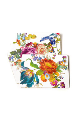 Flower Market Placemats - White