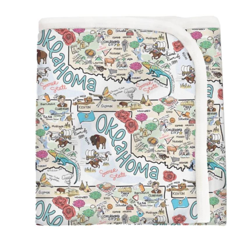 Oklahoma Map Baby Blanket