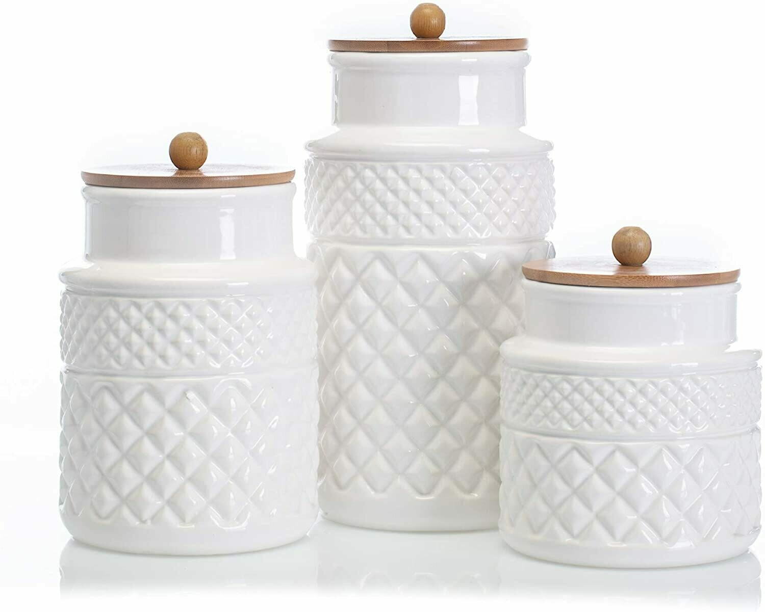 Set of 3 Faceted Canisters #22387