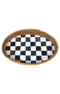 Courtly Check Rattan & Enamel Tray -small