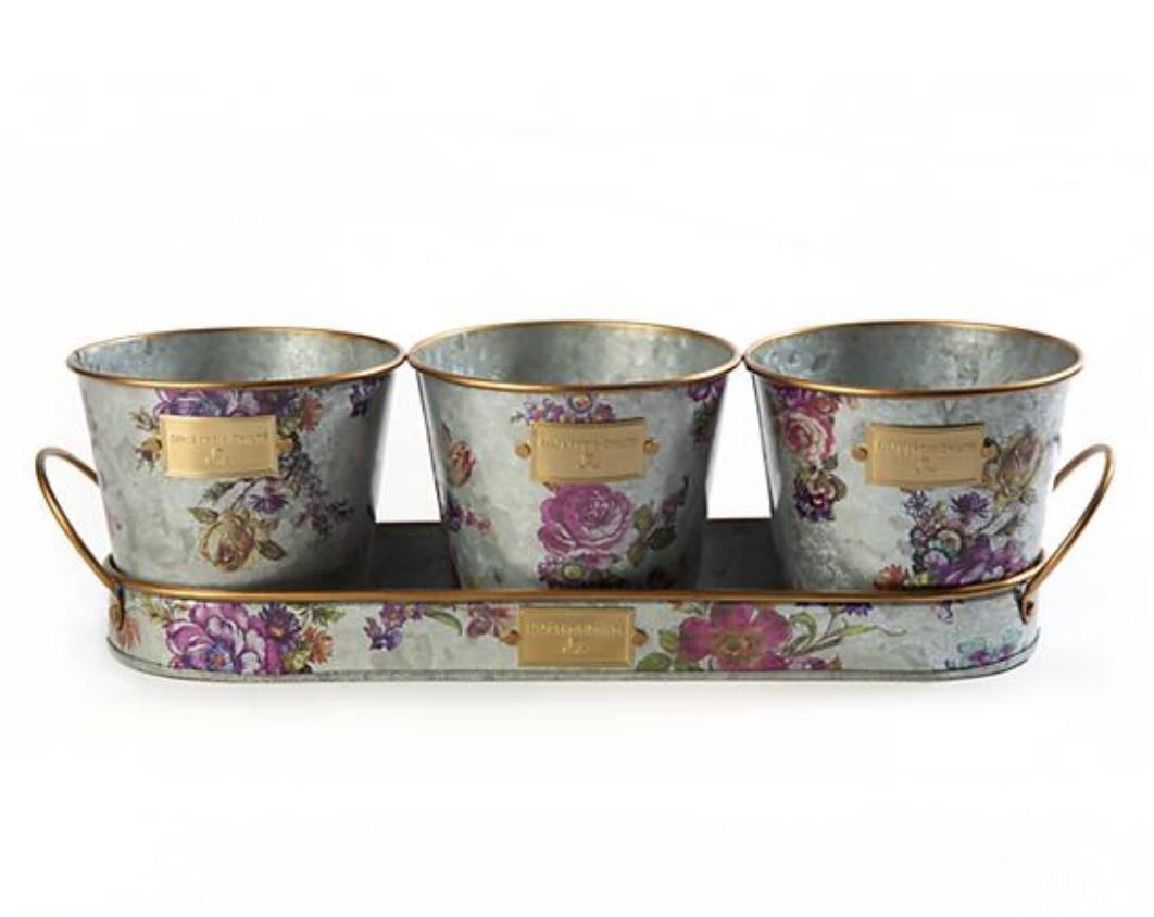 Flower Market Herb Pots w/ Tray