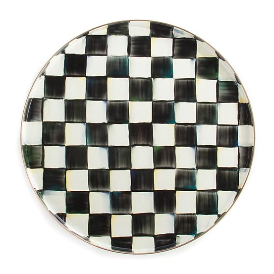Courtly Check Enamel Round Tray