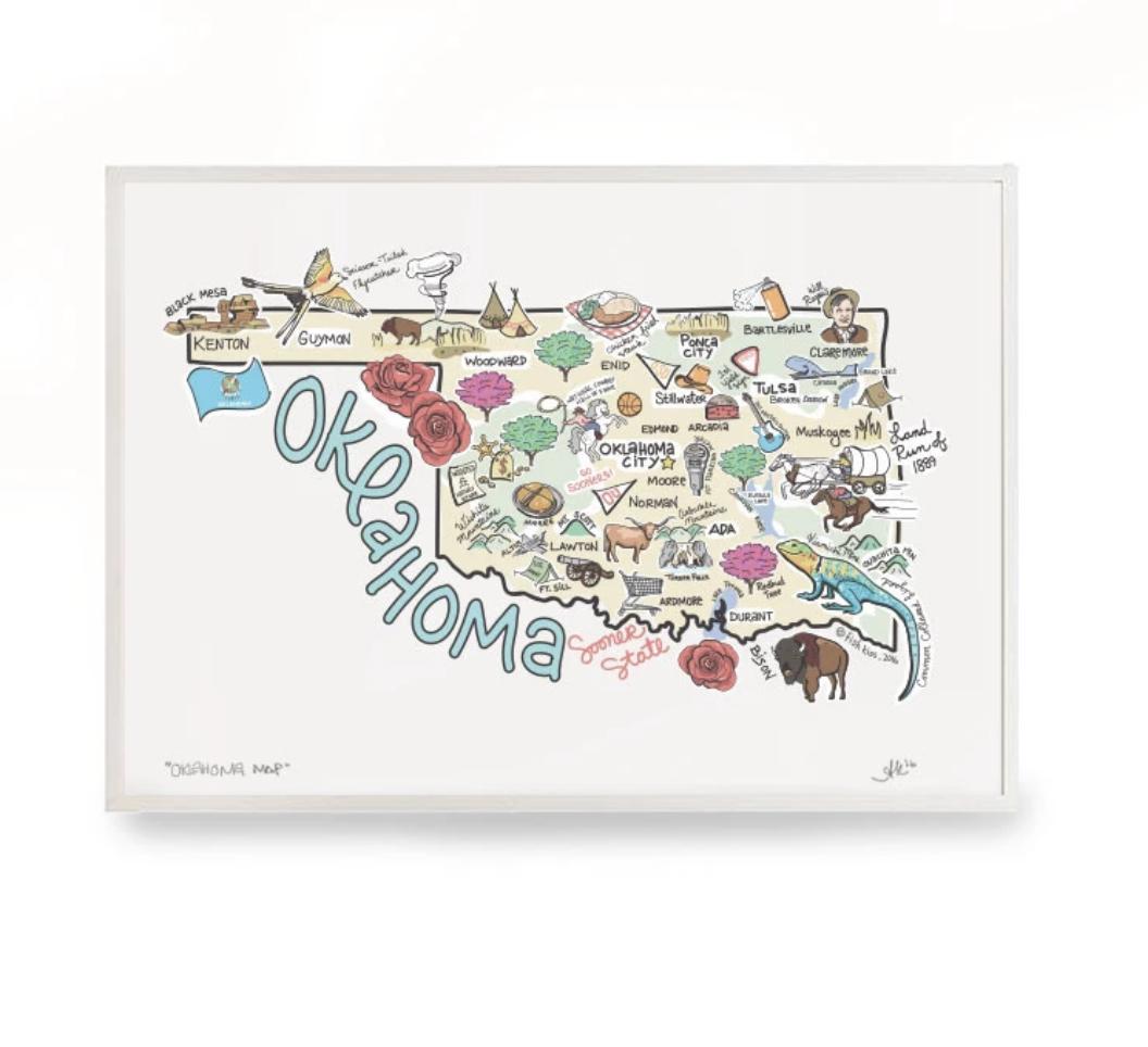 Oklahoma Map Print