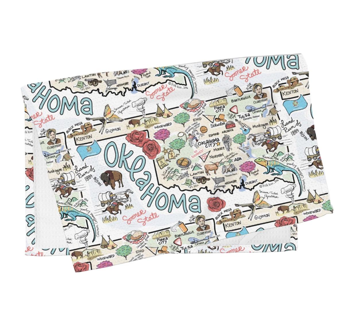 Oklahoma Map Tea Towel