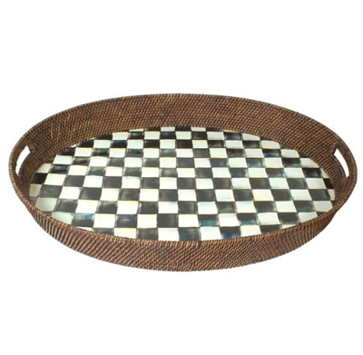 Courtly Check Rattan & Enamel Party Tray