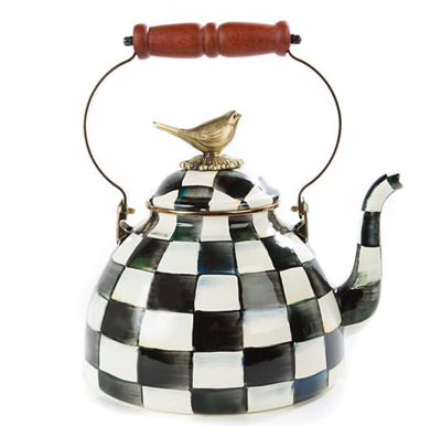 Courtly Check Enamel 3qt Tea Kettle With Bird