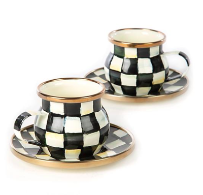 Courtly Check Enamel Espresso Cup & Saucer