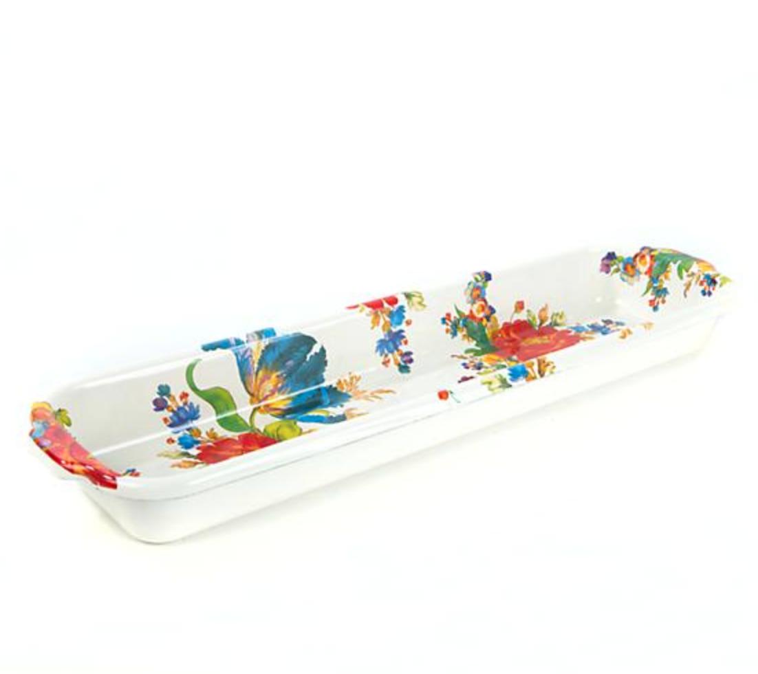Flower Market Baguette Dish - White