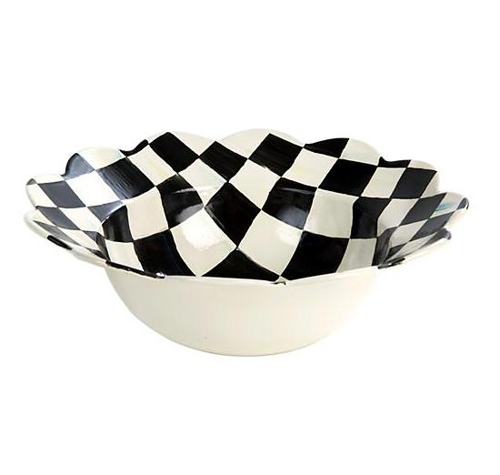 Courtly Check Enamel Petal Serving Bowl