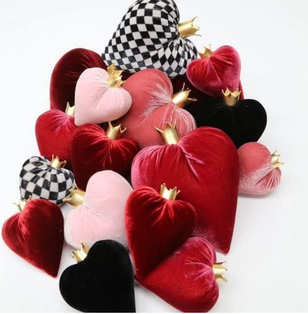 Large Silk Velvet Heart With Removable Gold Crown