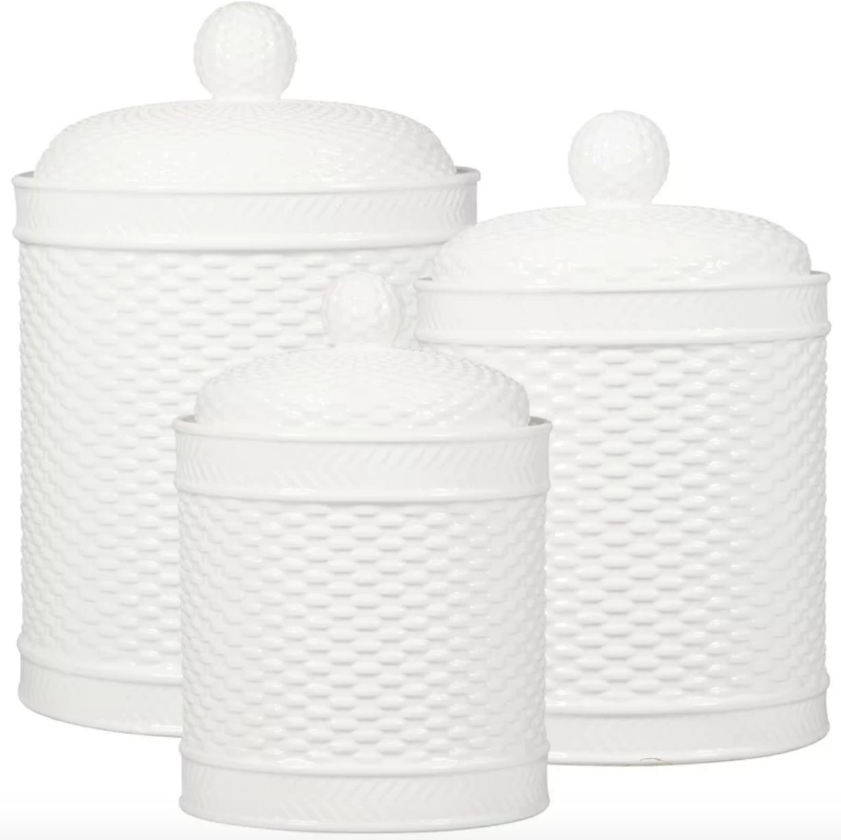 Set of 3 Basket Weave  Canisters #61122
