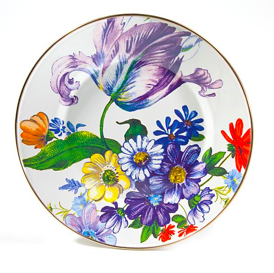 Flower Market Dinner Plate White