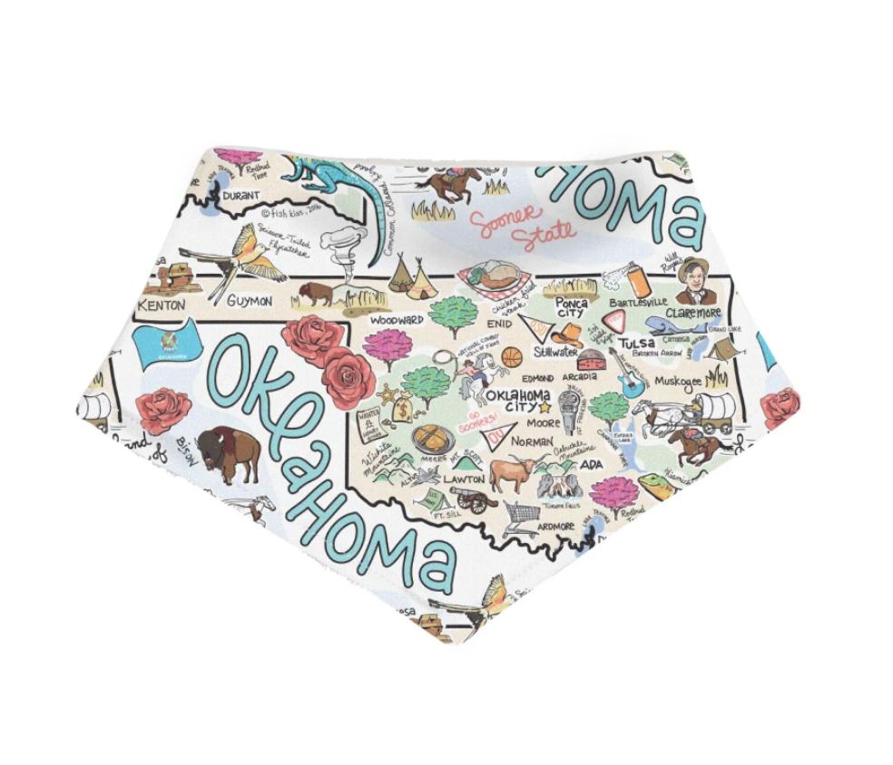 Oklahoma Map Baby Bandana
