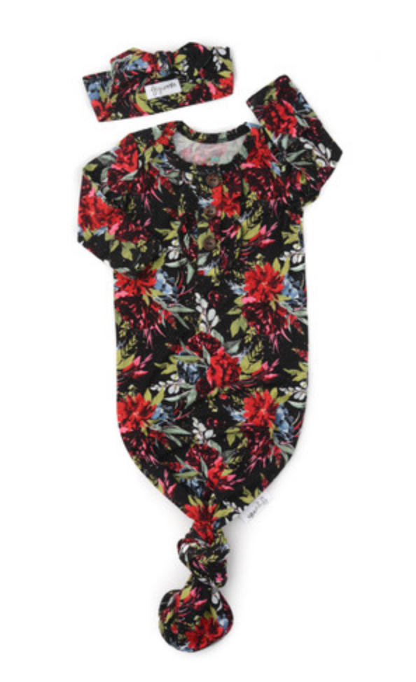 Black Floral Ruffle Knotted Button Gown & Headband