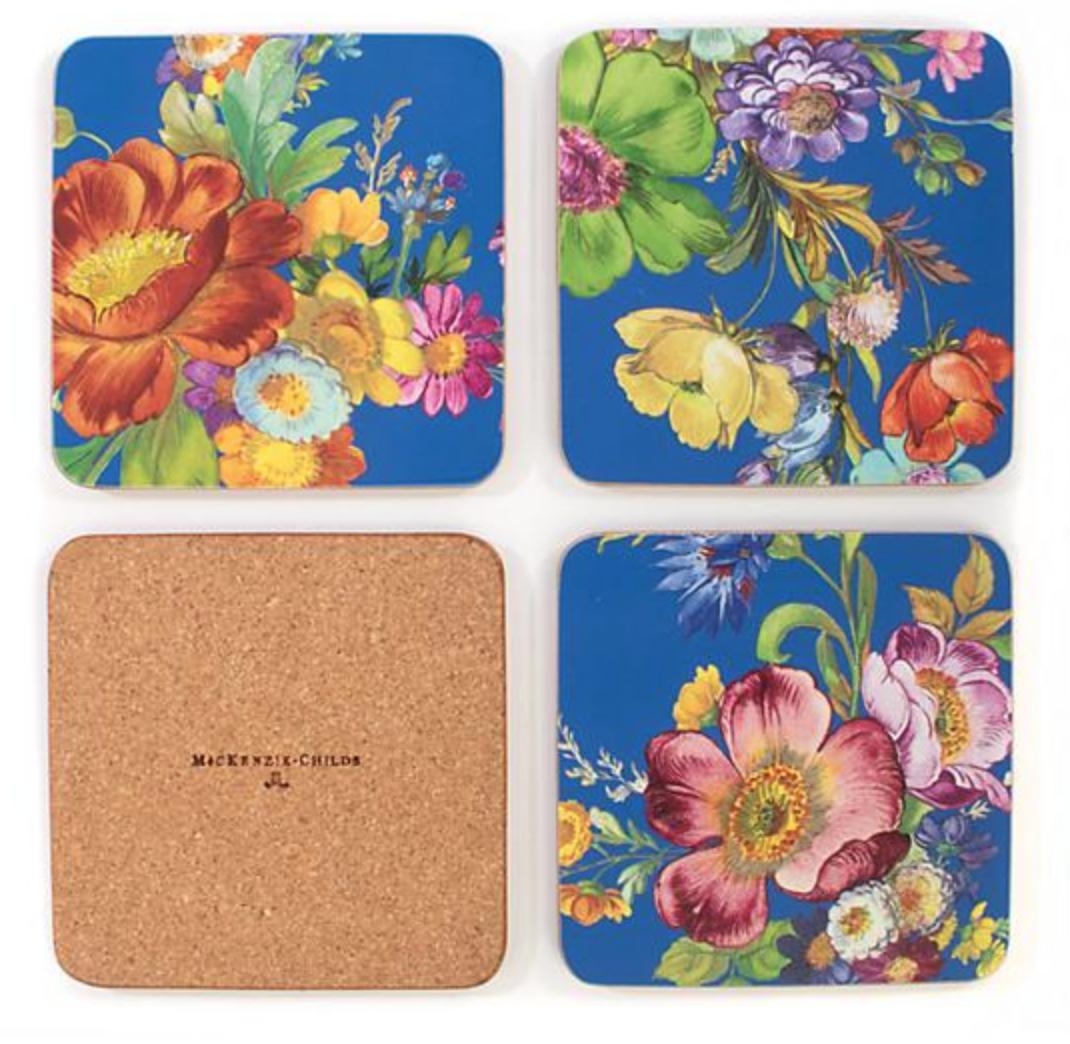 Flower Market Lapis Cork Back Coasters - Set of 4