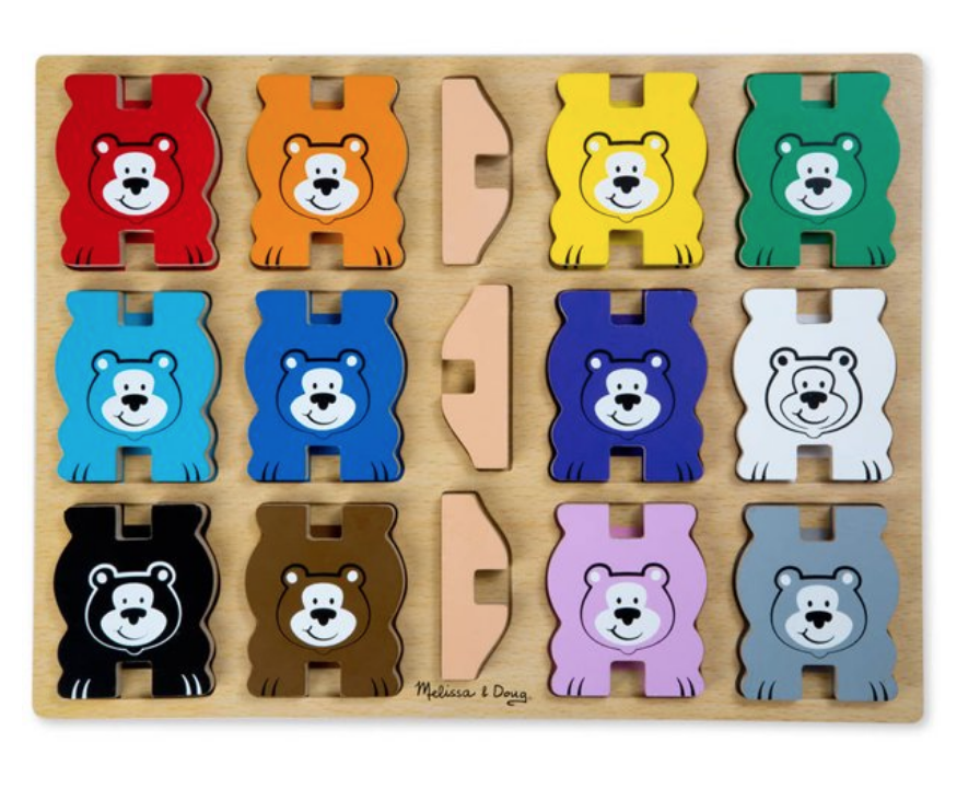 Stacking Wooden Chunky Puzzle Rainbow Bears