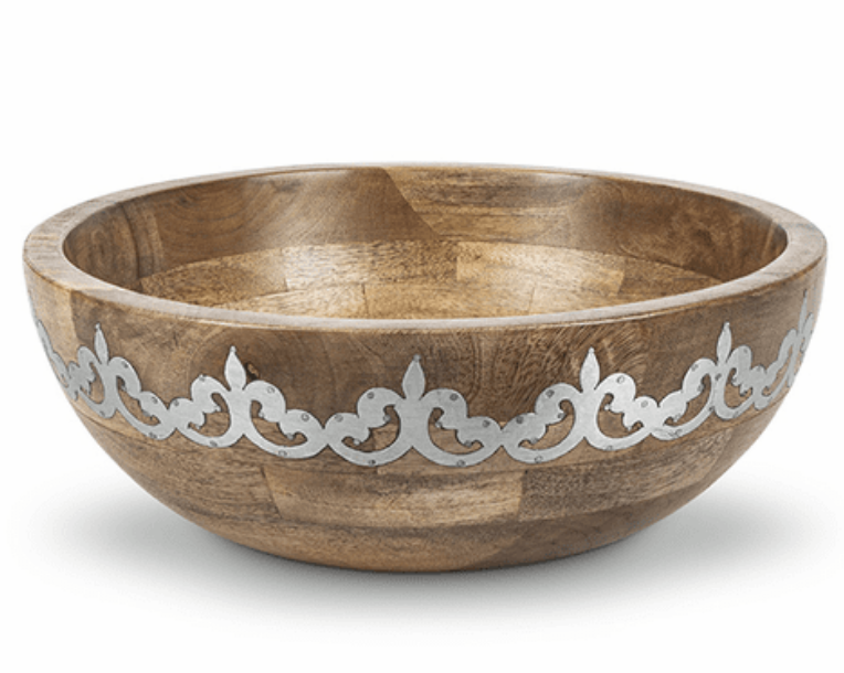 Wood/Metal Deep Serving Bowl #94881
