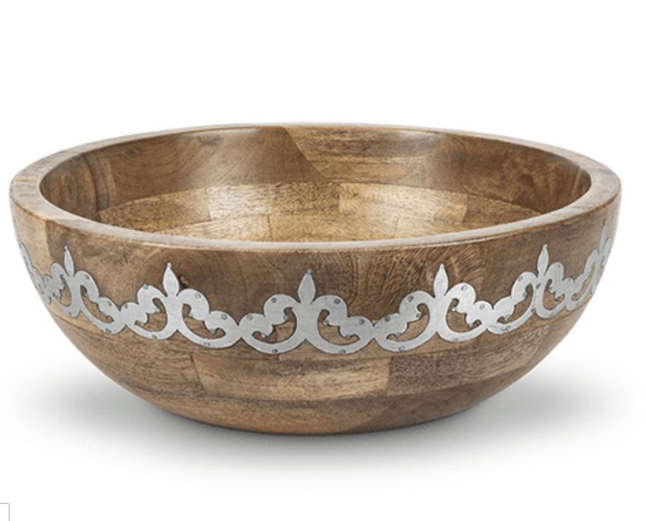 Wood/Metal Wide Serving Bowl #94880
