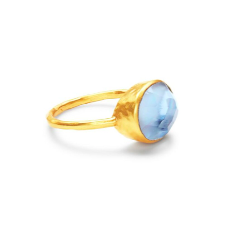 R142GICA - 7 -Honey Stacking Ring Gold Iridescent Chalcedony Size 7