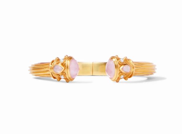 C082GIPKPL00 - Byzantine Demi Hinge Cuff Gold Iridescent Rose Endcaps W Iridescent Rose & Flesh Water Pearl Accents