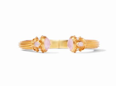 C082GIPKPL00 - Byzantine Demi Hinge Cuff Gold Iridescent Rose Endcaps W Iridescent Rose & Flesh Water Pearl Accents