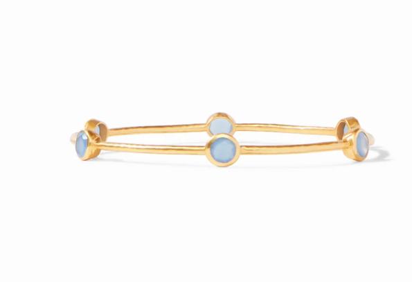 BG047GCA-M Milano Bangle Gold Chalcedony Blue Medium