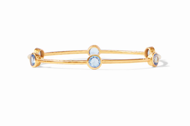 BG047GICA-M Milano Bangle Gold Clear Chalcedony Blue Medium