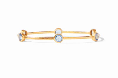 Milano Bangle Gold Clear Chalcedony Blue Medium BG047GICA-M