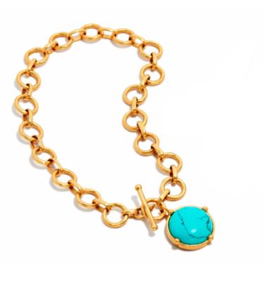 N327GTU00 Honeybee Statement Necklace Turquoise