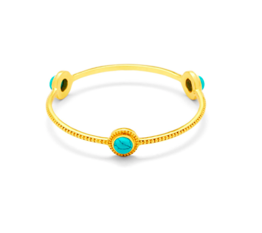 BG182GTU-M Florentine Stone Bangle Gold Turquoise Blue Medium