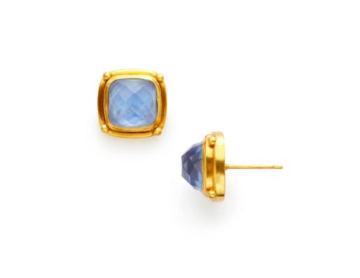 ER533GICA00 Monterey Stud Gold Iridescent Chalcedony Blue