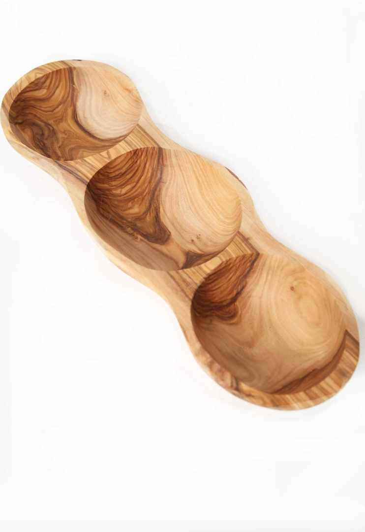 Olive Wood 3 Side Appetizer Tray