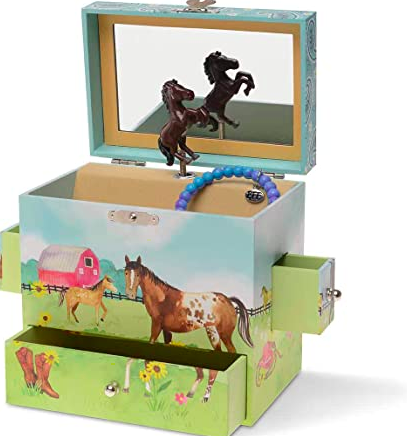 Horse Musical Jewelry Box - 2 Pullout Drawers