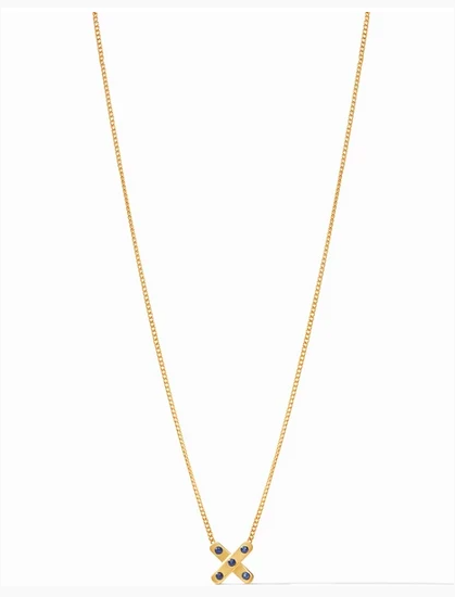N334GIO00 Paris X Charm Necklace Sapphire Blue