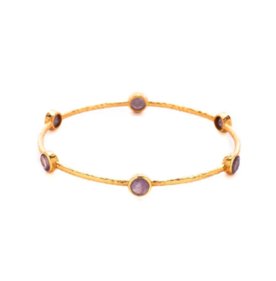 Milano Bangle Gold Amethyst Purple Medium BG047GAM-M
