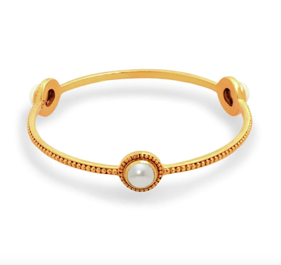 BG182GPL-M Florentine Stone Bangle Gold Pearl Medium