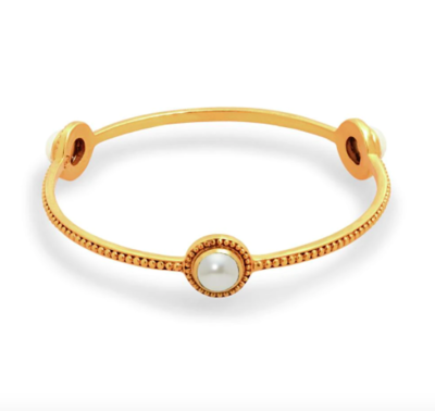 Florentine Stone Bangle Gold Pearl Medium BG182GPL-M