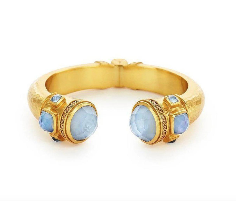 C080GICA00 Catalina Hinge Cuff Gold Iridescent Chalcedony with Iridescent Chalcedony Blue accents