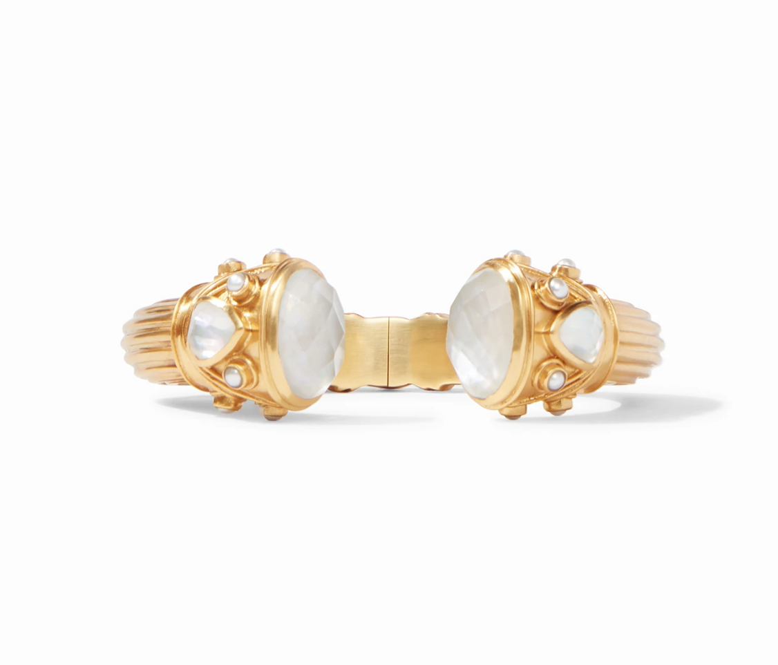 C001GPL00 Byzantine Hinge Cuff Gold Mother of Pearl Endcaps with Pearl and Pearl Accents