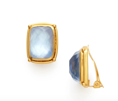CP072GICA00 Monterey Stone Clip-On Gold Iridescent Chalcedony Blue