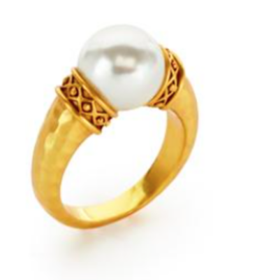 R128GPL-8 Catalina Ring Gold Pearl Size 8