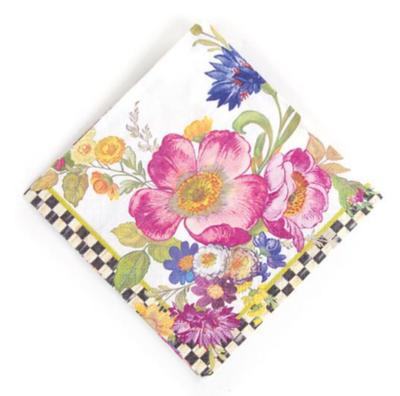 Flower Market Paper Napkin-Cocktail-White