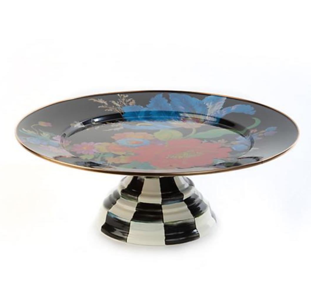 Flower Market Pedestal Platter - Black