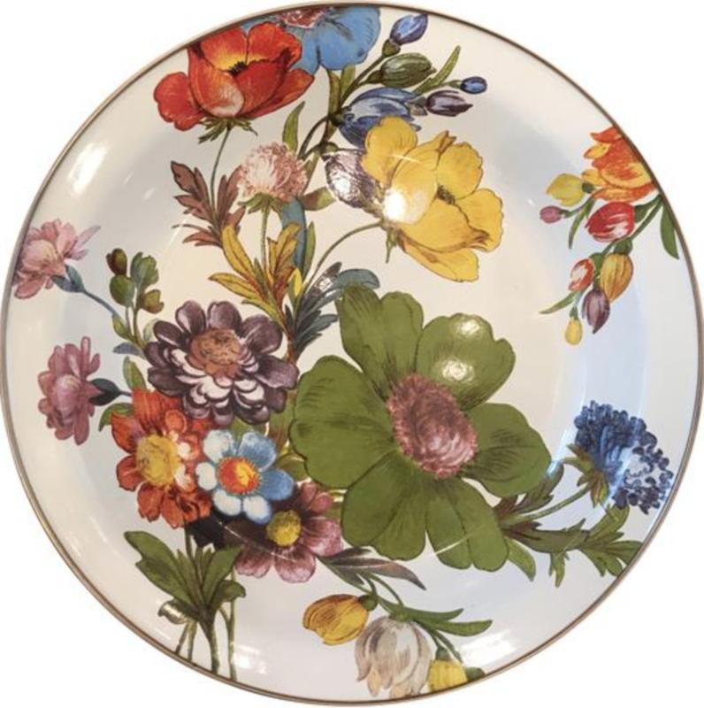 flower market pie plate- white