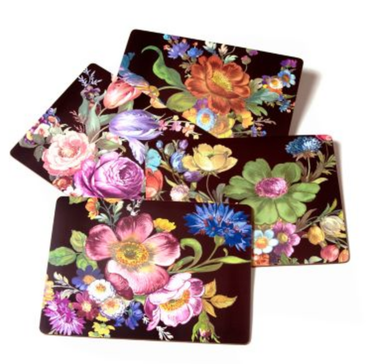 Flower Market Placemats Black