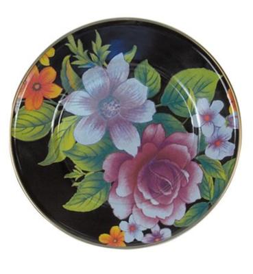 Flower Market Salad/Dessert Plate - Black