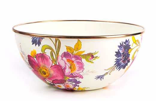 flower market small everyday bowl- white