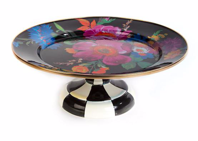 Flower Market Small Pedestal Platter - Black