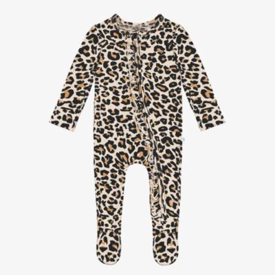 Lana Leopard - Footie Ruffled Zippered One Piece