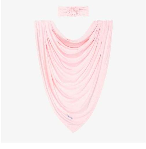 Pink Heather - Infant Swaddle & Headwrap Set